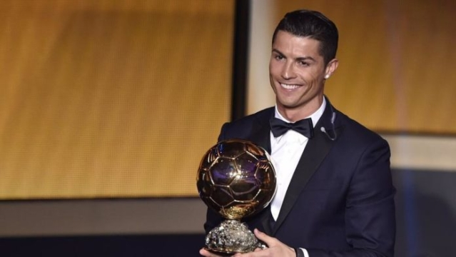 Ronaldo after accepting his fifth Ballon d'Or on 7 December, 2017