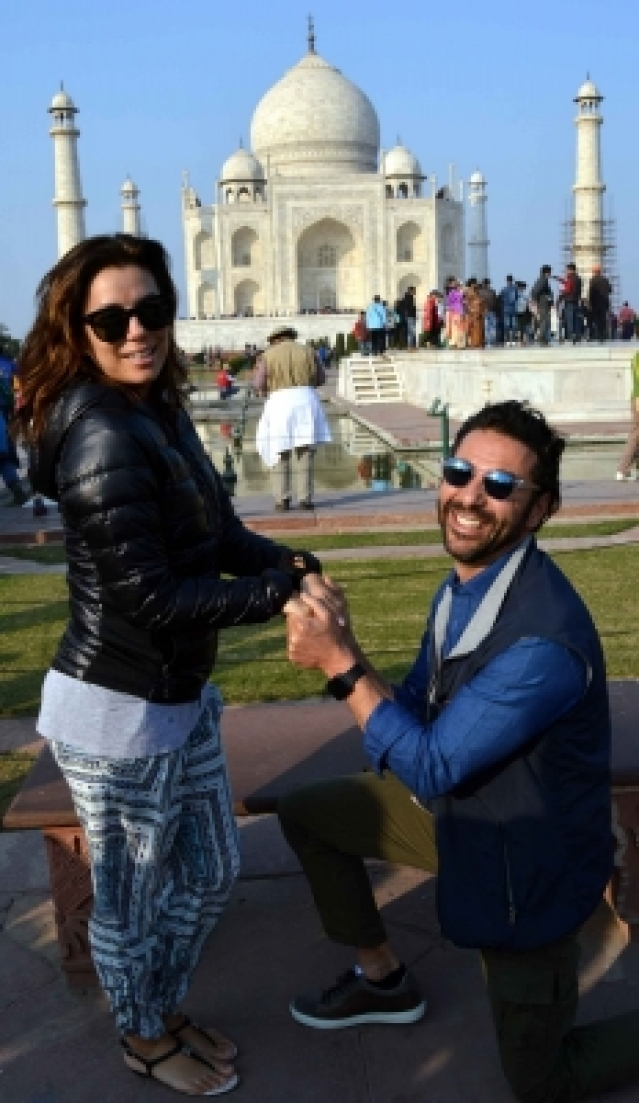 Agra: Hollywood actress Eva Longoria with her beau Jose Antonio Baston at the Taj Mahal in Agra on Dec. 16, 2015. (Photo: IANS)