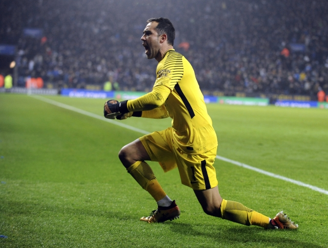 Manchester City's goalkeeper Claudio Bravo celebrates after Manchester City beat Leicester City on penalties during the League Cup Quarter Final.