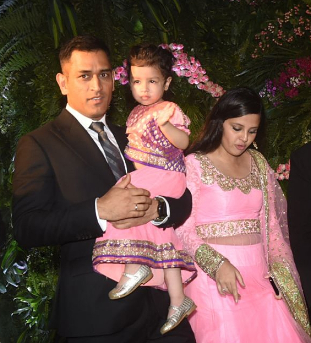 MS Dhoni with his wife, Sakshi and Ziva.