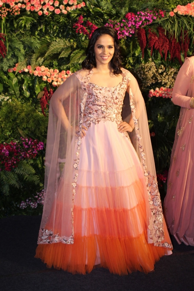 Saina Nehwal in a Neeta Lulla outfit at the Virat-Anushka reception in Mumbai.