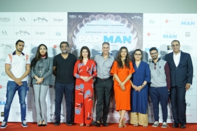 "Mumbai: Actors Akshay Kumar, Twinkle Khanna, Radhika Apte and director R. Balki at the song launch of their upcoming film ""Padman"" in Mumbai on Dec 20, 2017. (Photo: IANS)"