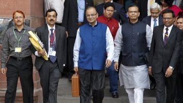 Finance minister Arun Jaitley arrives to present Budget at Parliament House.