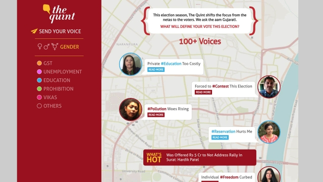 We modeled 'Voices of Gujarat' like a chat app with active conversations and expandable details.