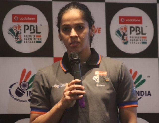 New Delhi: Indian badminton player Saina Nehwal addresses during a programme organised to unveil Premier Badminton League (PBL) Trophy in New Delhi on Dec 20, 2017. (Photo: IANS)