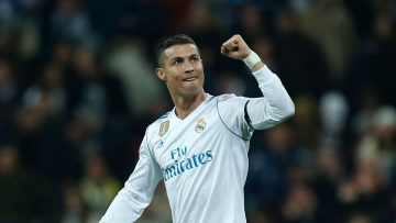 Real Madrid's Cristiano Ronaldo celebrates after scoring his side's second goal.<a></a>