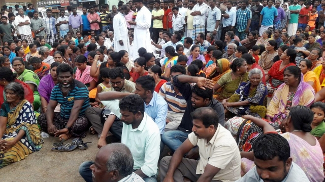 Families of the fishermen from Kerala and Tamil Nadu, who went missing after the cyclone Ockhi, stage a protest.