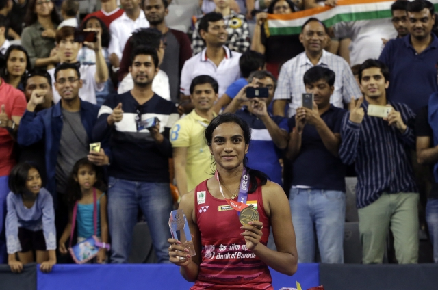PV Sindhu at the podium after the Korea Open.