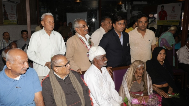 Ajiben (Seating second from right) with other senior citizens during the event on Monday