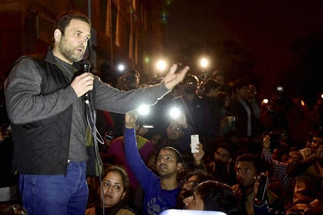 Rahul Gandhi addresses students of the Jawaharlal Nehru University in New Delhi in February 2016, days after the 'sedition row' began.