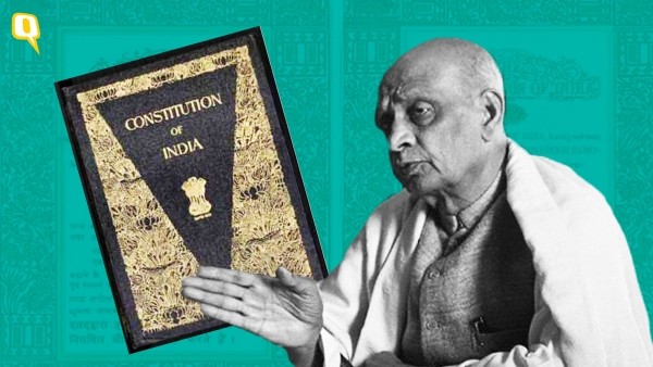 Image of Sardar Patel and the Indian Constitution used for representational purposes.