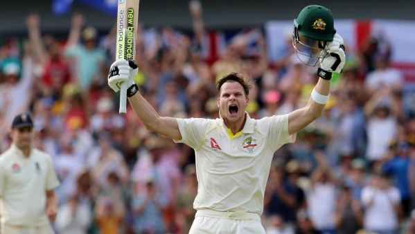 Steve Smith celebrates after scoring a double century on Day 3 of the Perth Test.