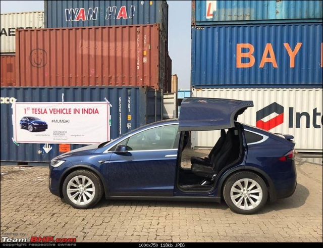 The Tesla Model X has falcon-wing rear doors, that are quite a sight.