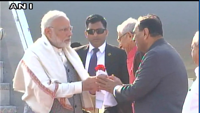 PM Modi arrives at Ahmedabad.