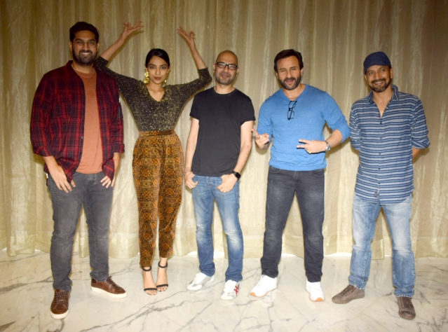 Saif Ali Khan promotes the film with the cast in Mumbai.