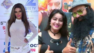 Rakhi Sawant (left) is ready to fight Honeypreet Singh's mother in court. Both Honeypreet and Gurmeet Singh are serving prison time.