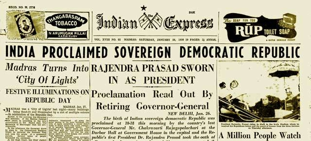 Archive image of the front page of Indian Express dated 28 January 1950.