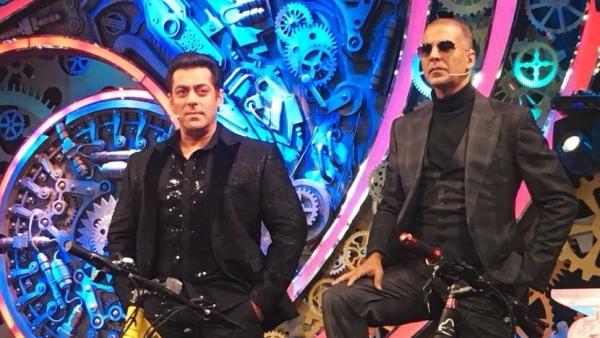 Salman Khan and Akshay Kumar on <i>Bigg Boss 11</i>.