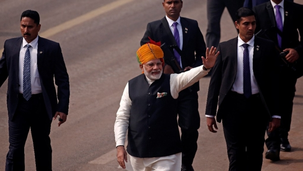 Breaking away from tradition, Prime Minister Narendra Modi took a long walk on the Rajpath to greet the spectators after the Republic Day Parade today.