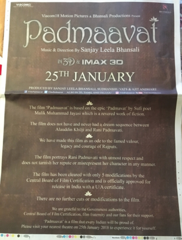 Ad in Monday's <i>Mid-Day</i> citing 'clarifications' from the <i>Padmaavat</i> team.