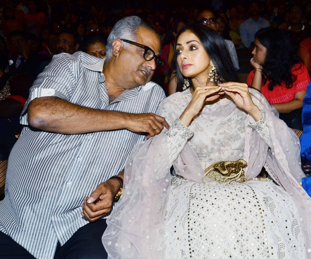 Boney Kapoor and Sridevi share sweet nothings.