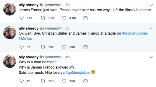 Actress Ally Sheedy's tweets after James Franco's win at The Golden Globes 2018.