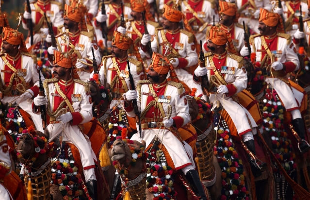 Indian soldiers march during the Republic Day parade in New Delhi, India, January 26, 2018.