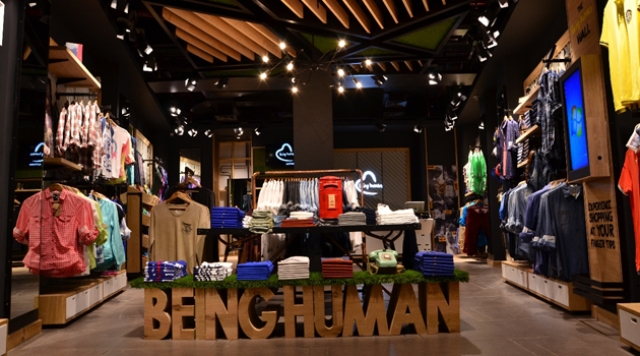 "Interiors of a Being Human store in Mumbai. Mandhana Industries has defined the brand as ""aspirational high-fashion."""