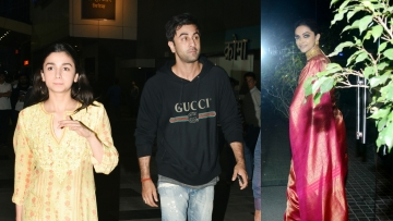 Alia Bhatt, Ranbir Kapoor and Deepika Padukone at the <i>Padmaavat </i>screening.