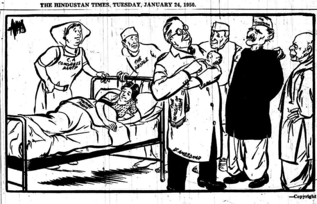 A cartoon from <i>HT</i> published on 24 January showing Chairman of the Drafting Committee (and later Law Minister) B R Ambedkar holding an infant Republic of India while Mother India lays in bed exhausted from labour. Around him stand Dr Rajendra Prasad and Nehru, looking anxiously.