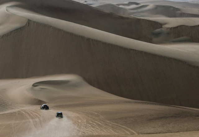 An airshot of the action in the deserts of Peru.