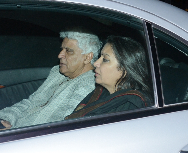 Javed Akhtar and Shabana Azmi at the screening to lend their support.