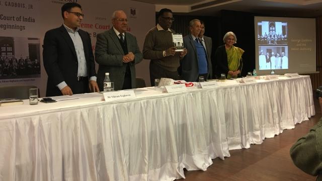 (From L-R) Vikram Raghavan, Dr Ranbir Singh, Justice Chelameswar, Ashok Desai, Arvind Datar and Dr Kamala Sankaran