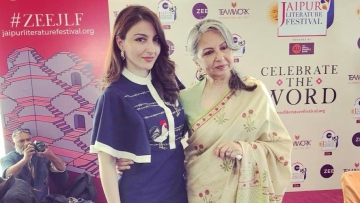 Soha Ali Khan (L) and Sharmila Tagore (R) at JLF 2018.