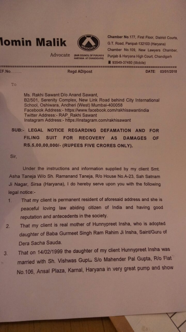 A portion of the defamation notice sent to Rakhi Sawant by Honeypreet Singh's mother.