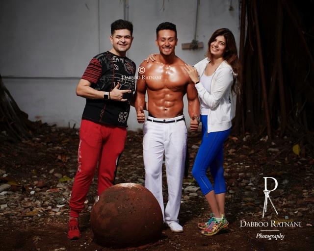 Tiger Shroff with Dabboo and Manisha Ratnani during his shoot.