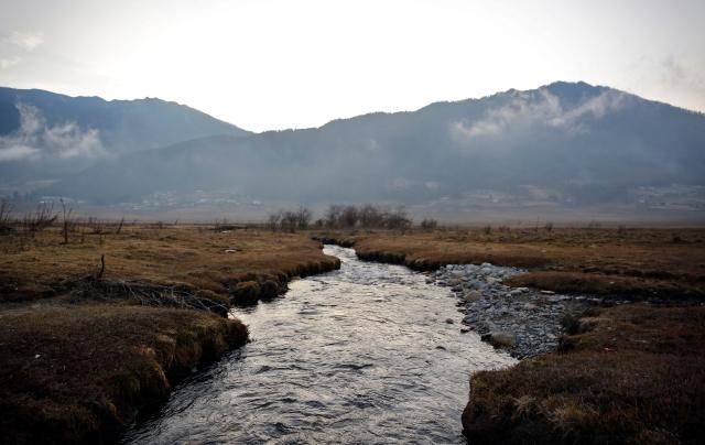 A stream runs through the Phobjikha Valley, Bhutan, 14 December 2017.