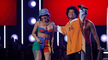 Cardi B and Bruno Mars finish their performance of <i>Finesse.</i>