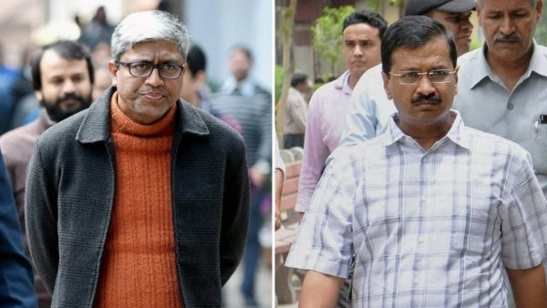 Indian journalist and AAP spokesman Ashutosh (Left) & AAP chief Arvind Kejriwal (right).