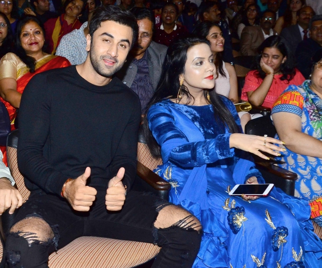 Shy Guy Ranbir and Amruta Fadnavis share the frame.