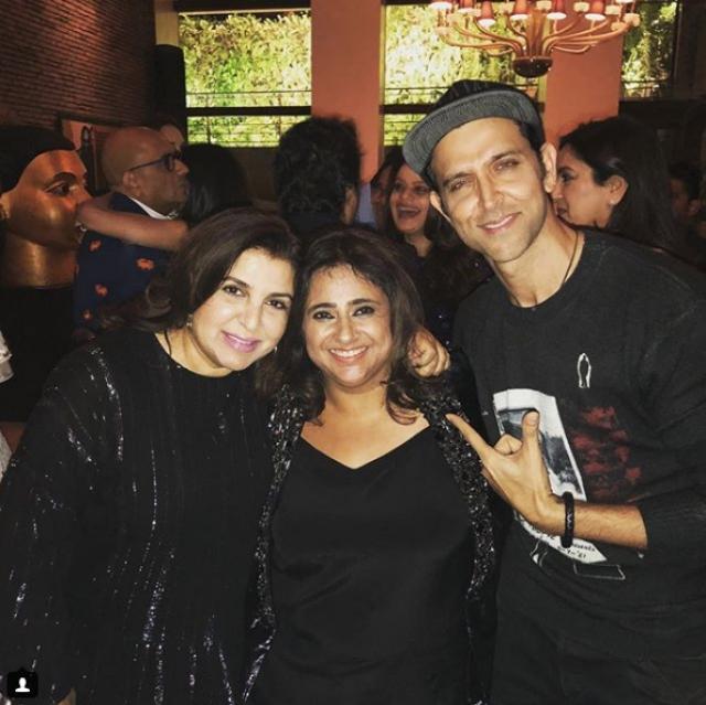 Farah Khan and Hrithik Roshan with birthday girl Kajal Anand.