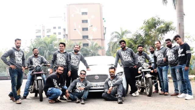 A group of Salman Khan fans don the 'Being Tiger' hoodie retailed by Being Human<i> </i>on the release of Khan's blockbuster <i>Tiger Zinda Hai</i>.
