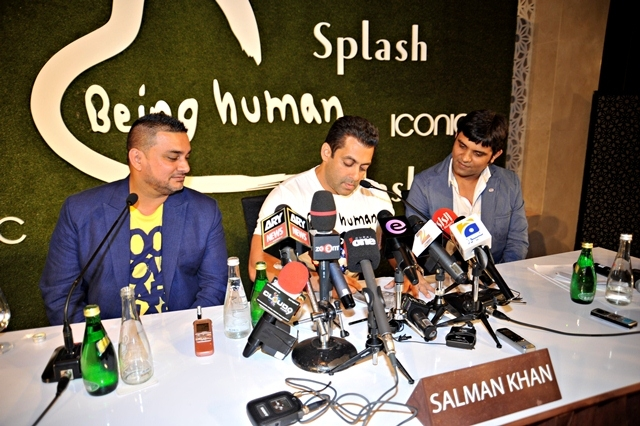 (From left): Raza Being, CEO, Splash & Iconic, Salman Khan, and Manish Mandhana of Mandhana Industries launch the flagship Being Human store in Dubai in 2012.