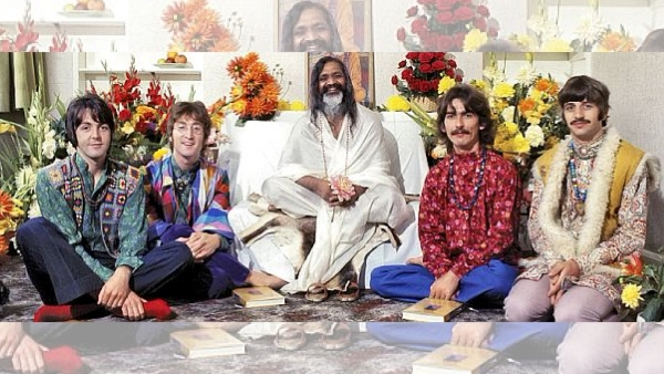 The Beatles, with Maharishi Mahesh Yogi, in their room at Maharishi Mahesh Yogi's ashram in Rishikesh.