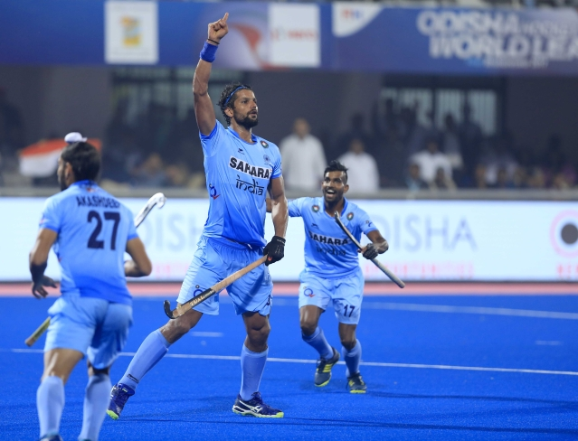 India's Rupinder Pal Singh scored in the first quarter.