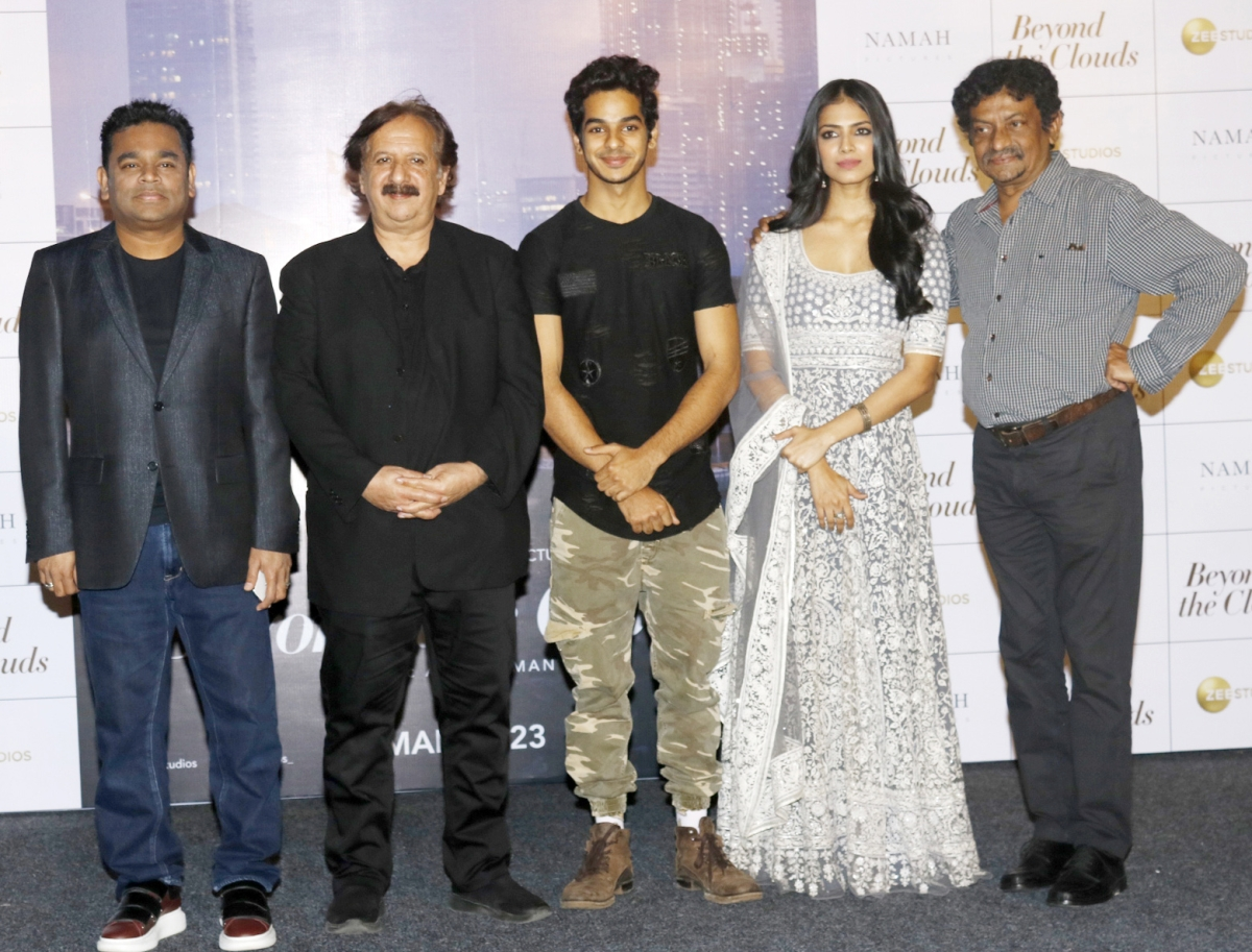 AR Rahman, Majid Majidi, Ishan Khatter, Malavika Mohanan and Goutam Ghose at the trailer launch.