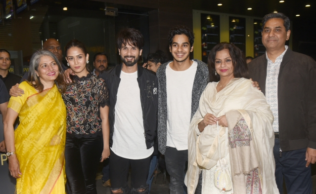 Shahid and Mira with family at the <i>Padmaavat </i>screening.