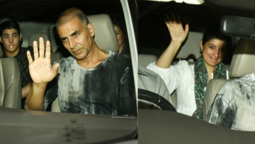 Akshay Kumar and Twinkle Khanna ride in together for the <i>PadMan </i>screening.