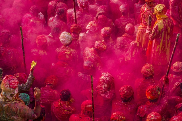 Holi celebration in Nandgaon.