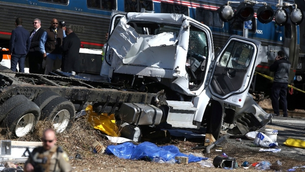 The site of the crash between a garbage truck and an Amtrak train carrying Republican lawmakers, in Virginia on Wednesday, 31 January.